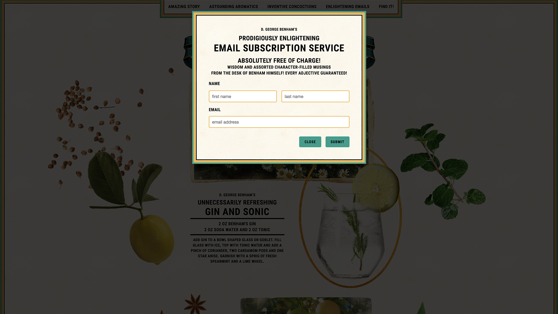 Benham's Gin Website