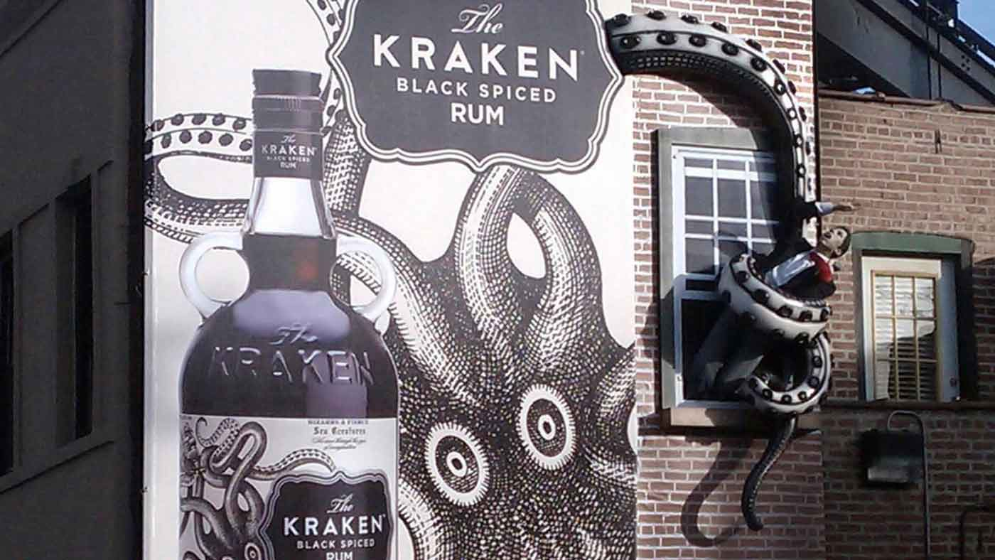 Kraken Rum outdoor billboard man