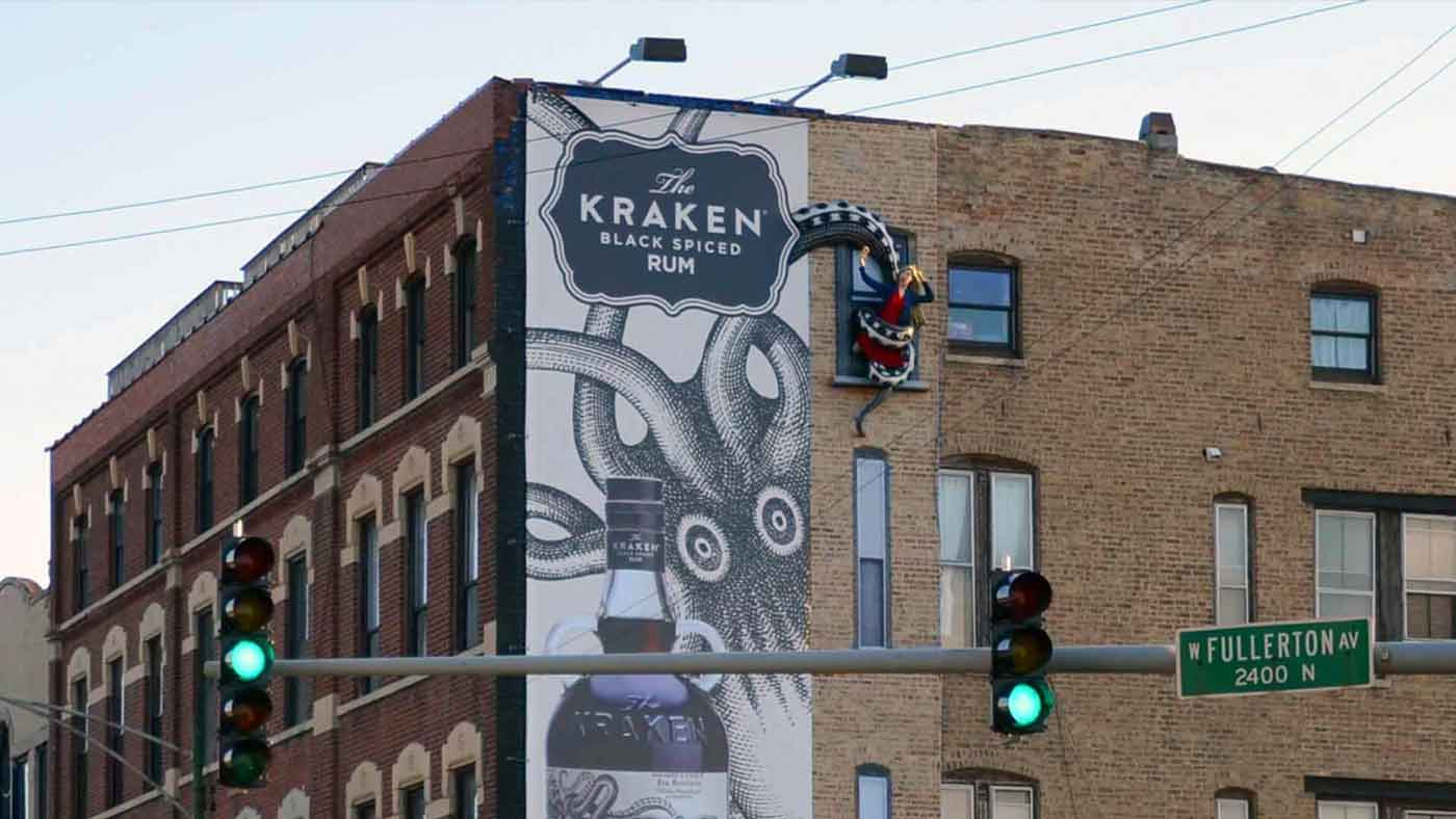 Kraken Rum outdoor billboard woman