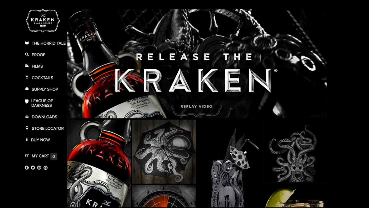 Kraken Rum website